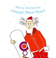 santa snowboarder vector image