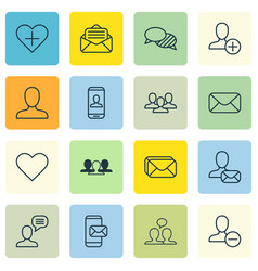Set of 16 social icons includes talking person vector