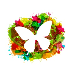 Simple white butterfly on colorful grunge damage vector