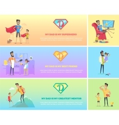 Super Dad with his Kids vector image vector image
