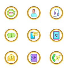 Telephone assistance icons set cartoon style vector