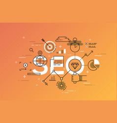 Thin line flat design banner of search engine vector