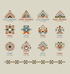 Tribal native pattern set vector