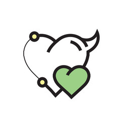 Two heart devil pen tool style green vector