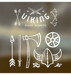 Viking design elements in hand drawn style blurred vector