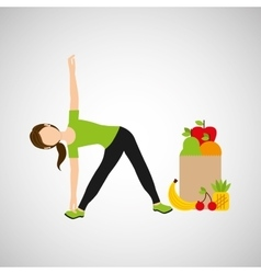 Woman flexibility exercising healthy food bag vector