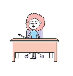 woman teacher sitting and explaining to the vector image