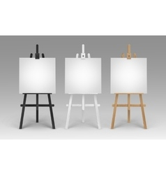 Wooden Brown Black White Easels with Canvases vector image