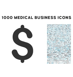 Dollar icon with 1000 medical business symbols vector