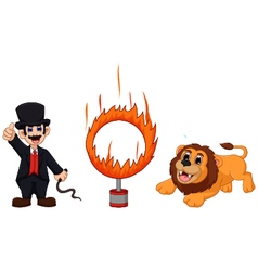 Attractions of lion cartoon jumping into fire vector