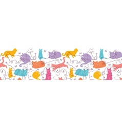 Colorful Cats Horizontal Seamless Pattern vector image