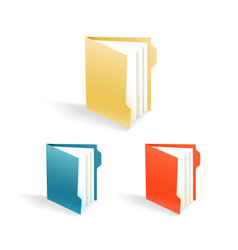 Different color office folders collection vector