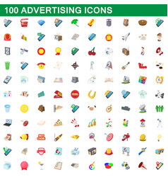 100 advertising icons set cartoon style vector