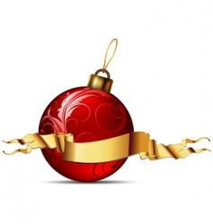 Christmas ball with ribbon vector image