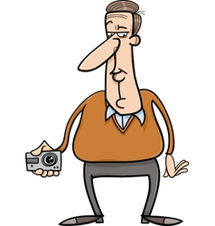 Man and hidden camera cartoon vector
