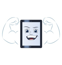 Smiling powerful tablet computer vector