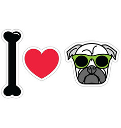 I love pug with green hipster glasses vector