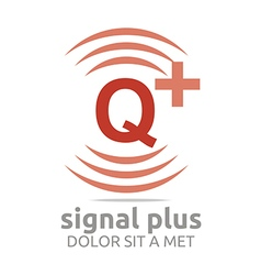 Logo signal letter q plus red alphabet wireless vector