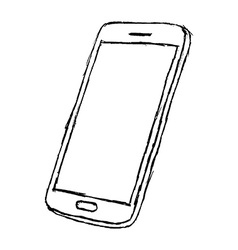 Handdrawn sketch of mobile phone outlined isolated vector