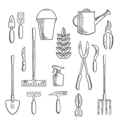 Gadening tools sketched icons set vector