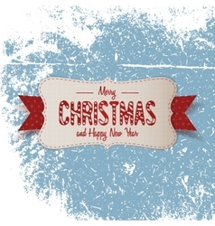 Christmas big paper emblem with red ribbon vector
