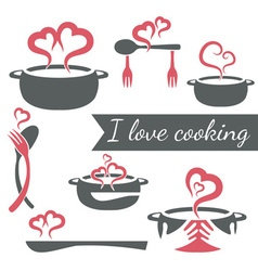 I love cooking set of kitchen elements vector