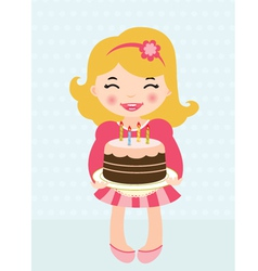 little girl birthday cake vector image