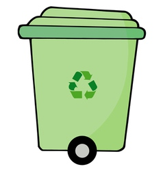 Rolling green recycle bin vector