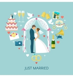 Heart wedding composition vector