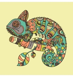 Hand drawn chameleon vector