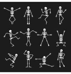 Funny dancing skeleton set vector image