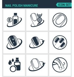 Set of modern icons nail polish manicure vector