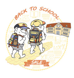 cute bear with rucksack back to school sale vector image