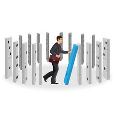 Domino effect visualization with businessman in vector