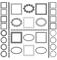 Ethnic borders set Round and square frames vector image