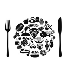 food symbol with food icons vector image vector image