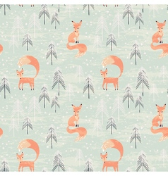 Fox in winter pine forest vector image vector image