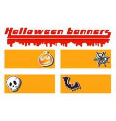 Halloween pumpkin skull cobweb and bat sticker vector