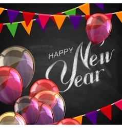 Happy new year lettering chalk composition vector