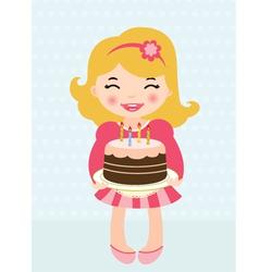 Little girl birthday cake vector