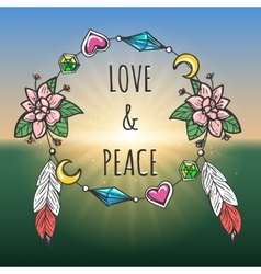 Love and peace emblem boho style vector