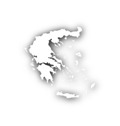 Map of greece with shadow vector