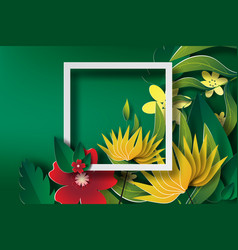 paper art of frame with green leaf and flower vector image vector image