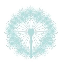 pastel blue silhouette dandelion with pistils vector image