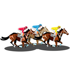 Racing horses competing with each other isolated vector
