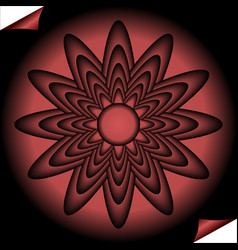 Red fractal inspired flower in circle shape on vector
