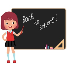 Schoolchild standing at the blackboard vector image vector image