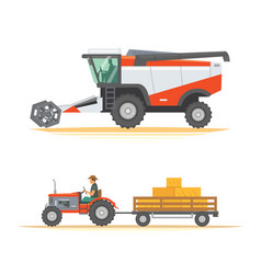 set farm machinery agricultural industrial vector image
