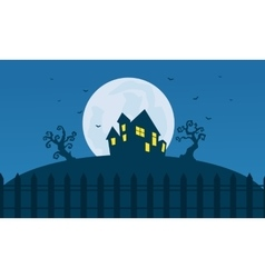 Silhouette of halloween scary castle and moon vector