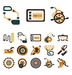 Simple flat color icons for e-bike vector